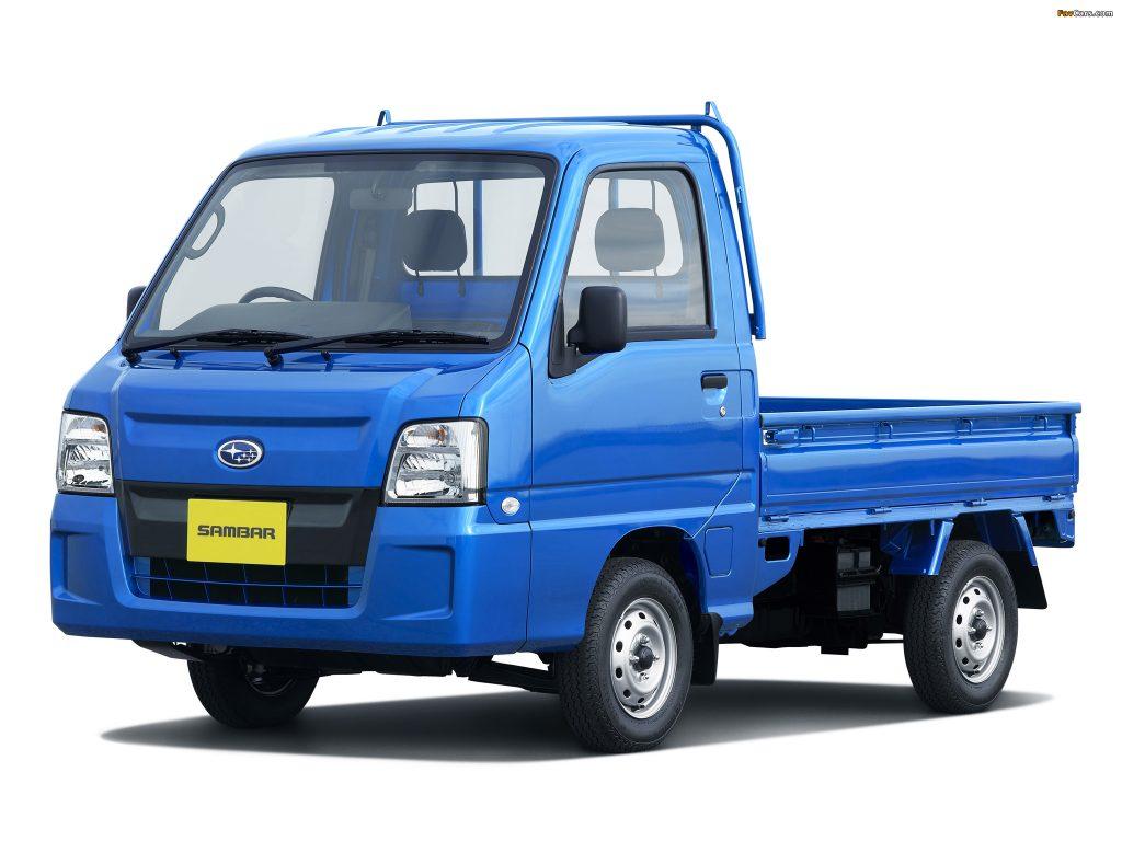 Suzuki Carry vs. Daihatsu Hijet vs. Subaru Sambar which is better? This is a blue Subaru Sambar